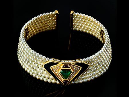 Detailabbildung: Perl-Smaragd-Onyx-Halsreif von Marina B