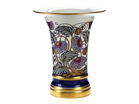 Porzellanvase mit Blumendekor von Krautheim