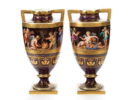 Paar Wiener Vasen Allegorie der Vier Jahreszeiten