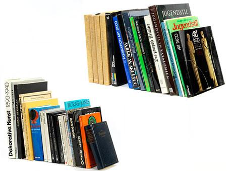 Großes Konvolut von Büchern zum Thema Art déco und Jugendstil