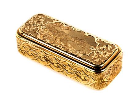 Golddose mit Vesuv