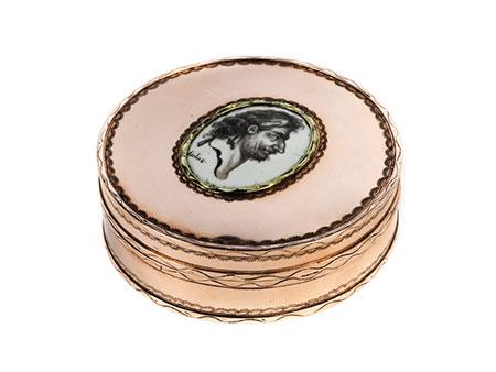 Runde Goldose mit Portrait des Aulus