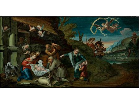 Großes museales italienisches Hinterglasbild des 18. Jahrhunders.