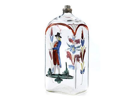 Vierkantflasche mit Emailmalerei