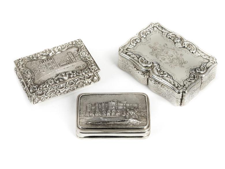 Drei englische Silberdosen
