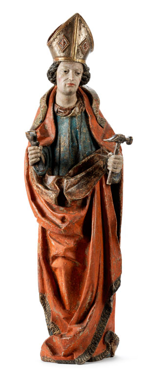 Gotische Schnitzfigur des Heiligen Eligius, Schutzpatron der Schmiede