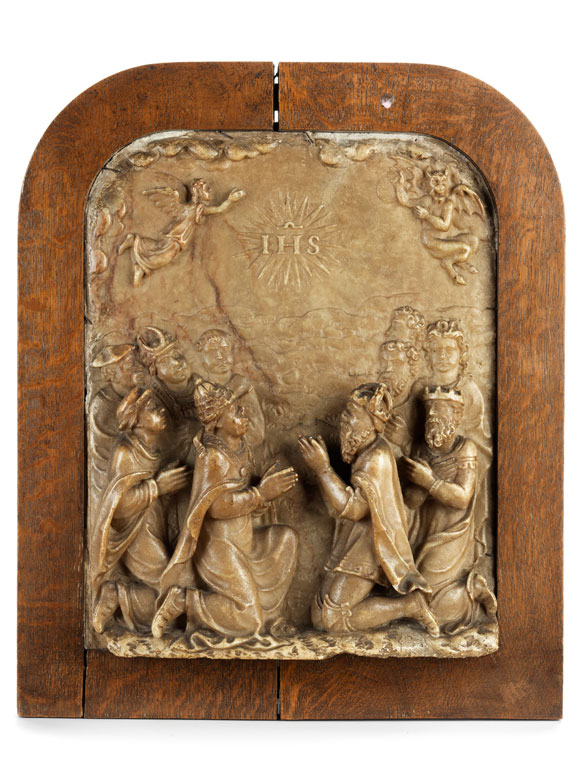 Alabasterrelief mit allegorischer Darstellung