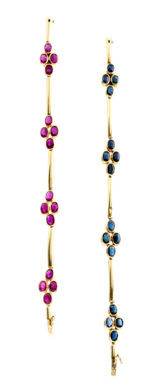 Saphir- und Rubinarmband