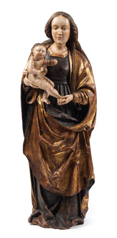 Große Schnitzfigur einer Madonna mit dem Kind