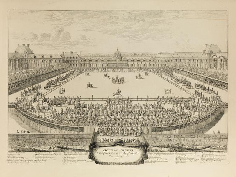 Kupferstich mit Darstellung eines Turnierspiels
