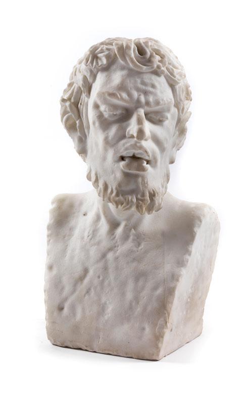 Weiße Marmorbüste eines Satyr