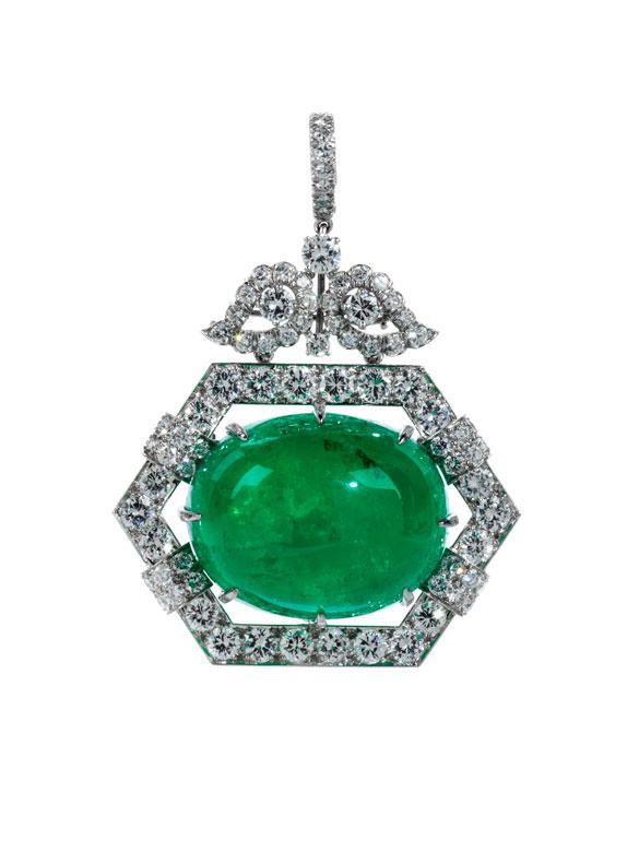 Smaragd-Brillant-Broschanhänger von David Webb