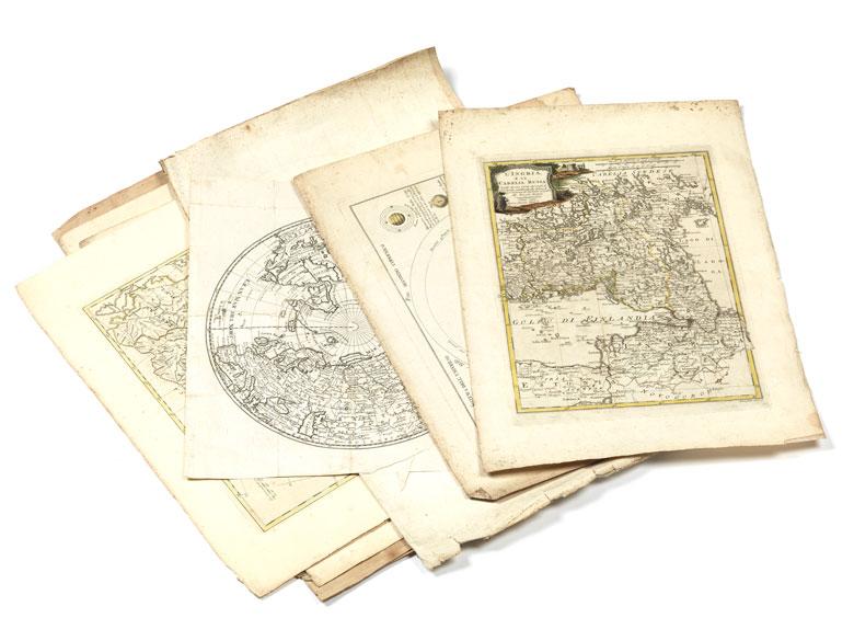 Zehn geografische Kupferstiche