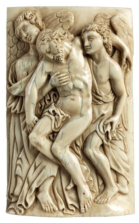 Elfenbeinhochrelief mit Darstellung der Aufnahme Christi durch zwei Engel