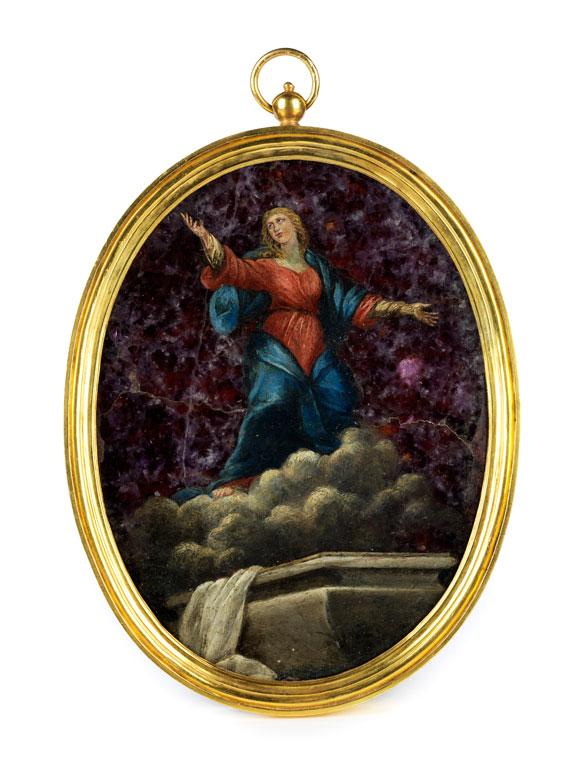 Ovales Medaillon-Gemälde auf Halbedelstein-Quarzplatte im vergoldeten Bronzerahmen