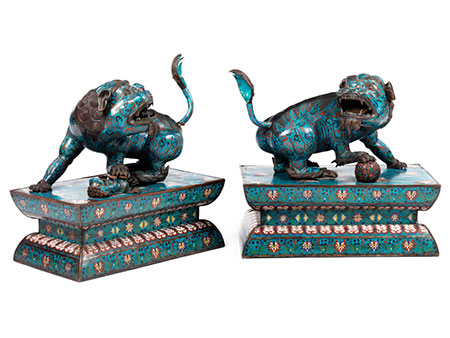 Paar Cloisonné-Fo Hunde