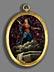 Detail images: Ovales Medaillon-Gemälde auf Halbedelstein-Quarzplatte im vergoldeten Bronzerahmen