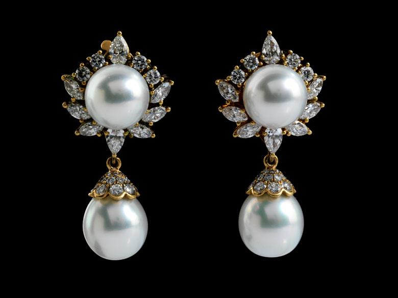 Perl-Diamantohrhänger von Van Cleef & Arpels