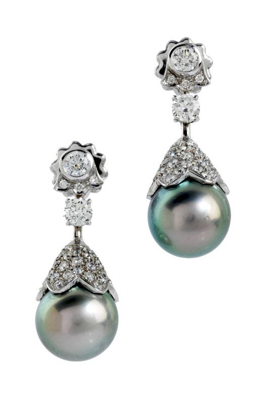 Tahitiperlen-Diamant-Ohrhänger