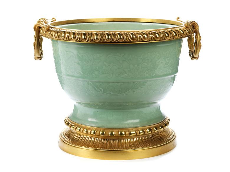 Große gebauchte Seladon-Vase