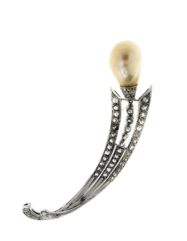 Antike Naturperl-Diamantbrosche