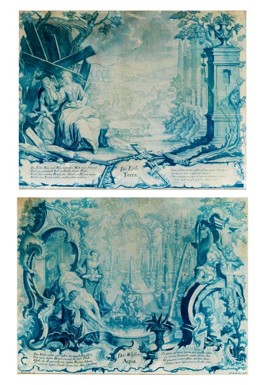 Paar Mezzotinto-Schabkunstblätter des Rokoko