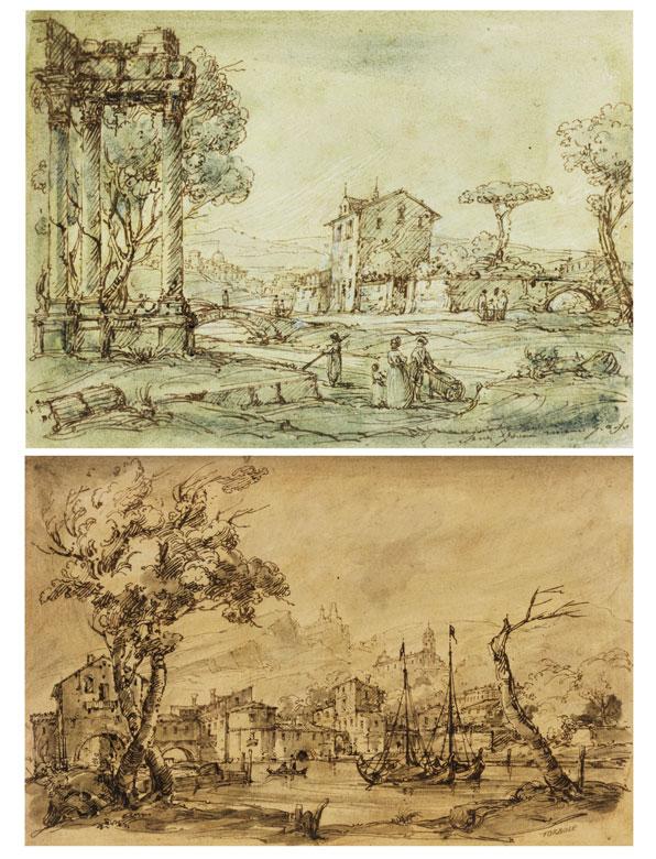 Paar Zeichnungen italienischer Landschaften