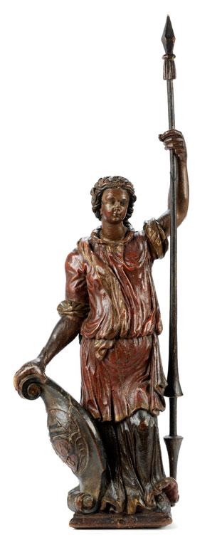 Allegorische Schnitzfigur einer Schildträgerin mit Lanze