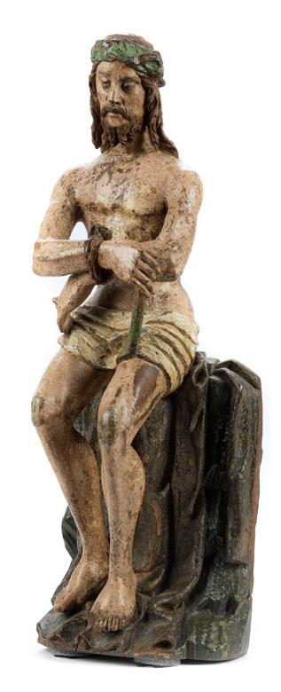 Spätgotische Schnitzfigur Christus in der Rast