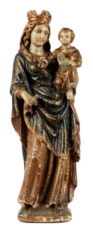 Spätgotische Schnitzfigur einer Madonna mit dem Kind