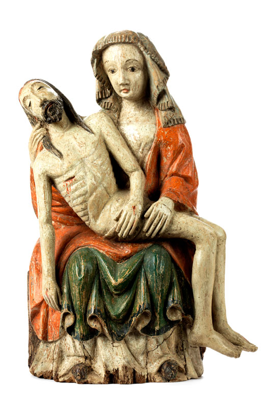 Frühgotische Schnitzfigurengruppe einer Pietà