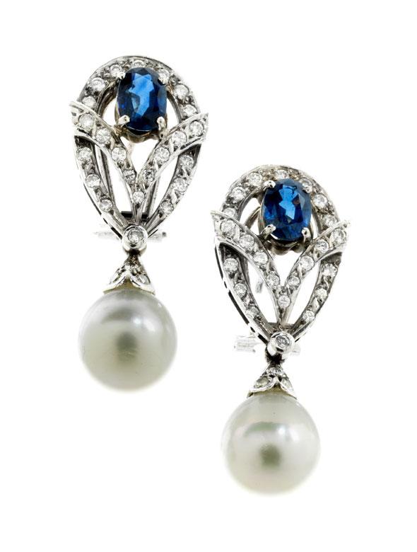Perl-Saphir-Diamantohrhänger