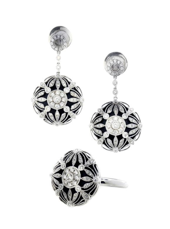 Diamant-Onyx-Ohrhänger und Ring