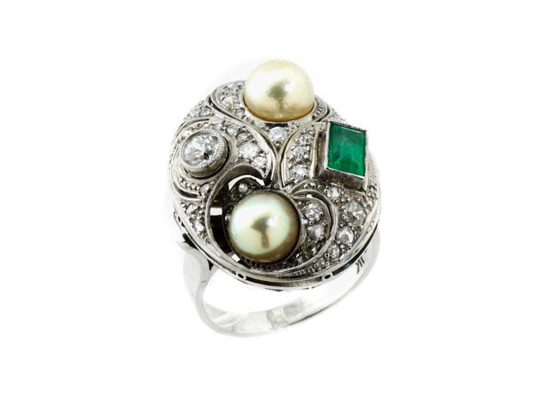 Perl-Smaragd-Diamantring