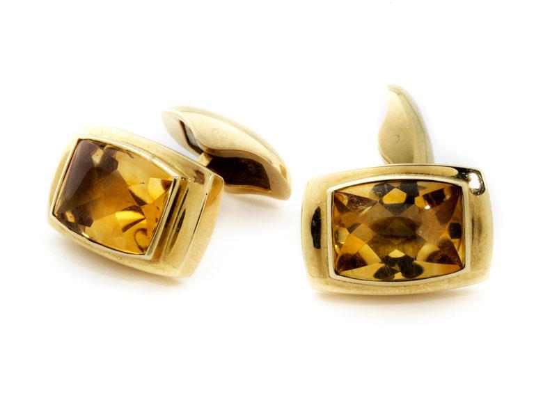 Gold-Citrin-Manschettenknöpfe von Fochtmann