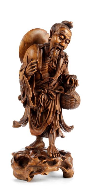 Chinesische Schnitzfigur eines alten Fischers