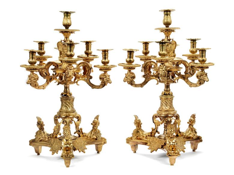 Paar vergoldete Bronzegirandolen
