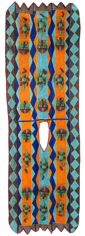 Seltener Königsumhang in Perlstickerei mit Bänderdekor und stilisierter Ornamentik