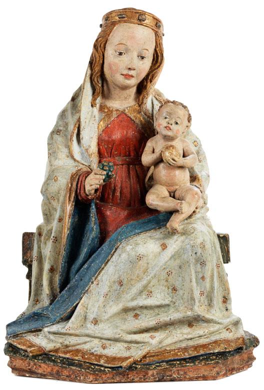 Museale Schnitzfigur einer Traubenmadonna mit Kind