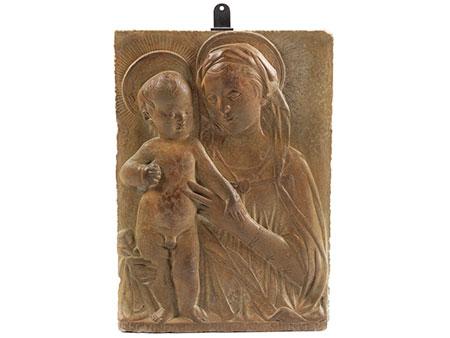 Stucco-Relief mit Darstellung der Maria mit dem Kind