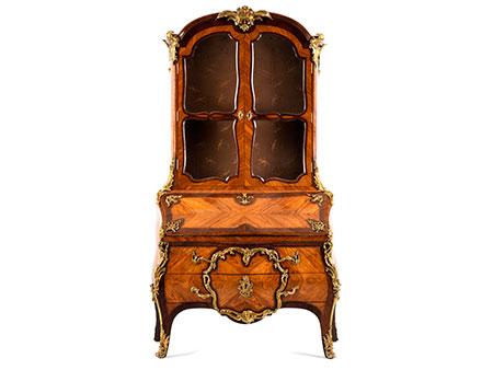 Hochfeiner bedeutender Louis XV-Vitrinenaufsatzsekretär