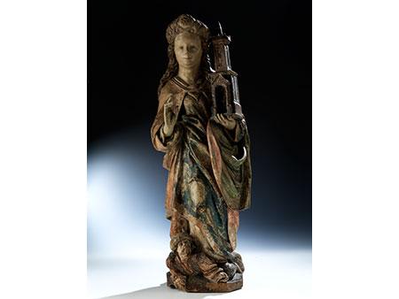 Museale Schnitzfigur der Heiligen Barbara