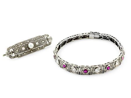 Detail images:  Art déco-Armband und -Brosche