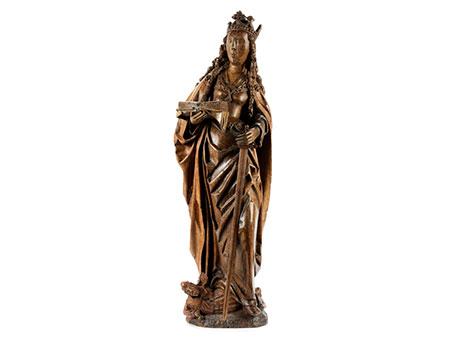 Spätgotische Schnitzfigur der Heiligen Katharina