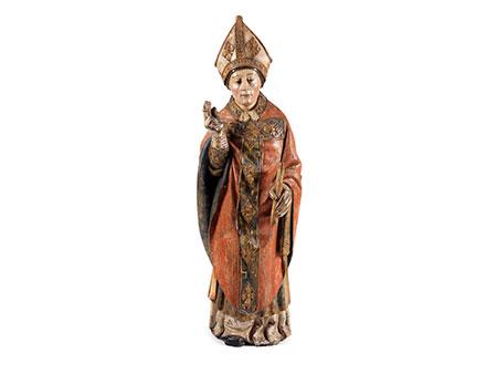 Schnitzfigur eines Bischofs