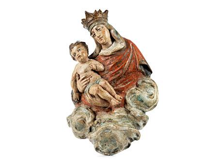 Kleine geschnitzte Figurengruppe Maria mit dem Kind