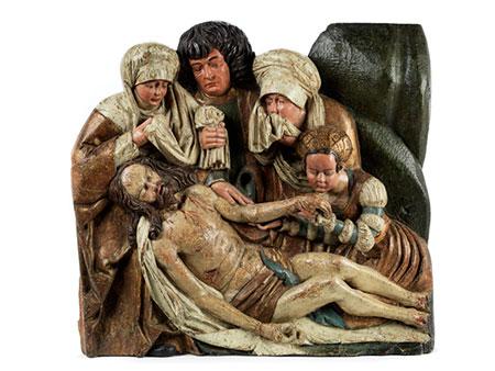 Bedeutende museale Figurengruppe der Beweinung Christi