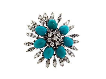 Detail images:  Türkis-Diamantbrosche