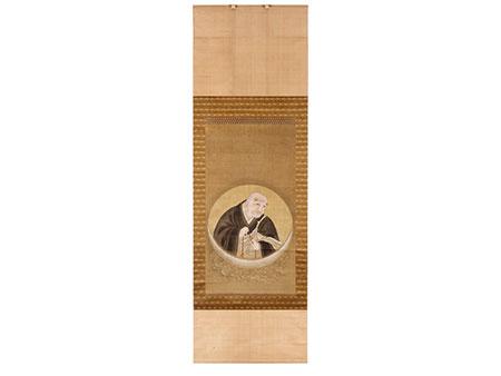 Priesterbildnis mit Andachtskette auf einer Mondsichel in Tondoform
