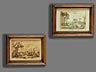 Detail images: Paar Zeichnungen italienischer Landschaften
